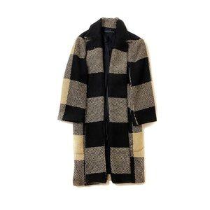 Zara Woven Brown and Black Checkered Coat